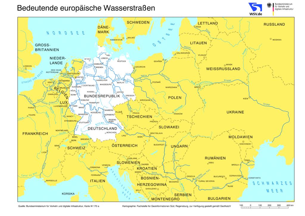 Karte der Wasserstraßen Europas
